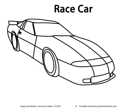 race car coloring page 2011